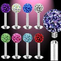 Ferido Crystal Top Labret Monroe Tragus, Helix oder Lippe 2 Größen 9 Farben