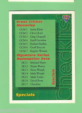 1994-95 FUTERA  CRICKET CARD - #110 CHECKLIST FOR SPECIAL CARDS