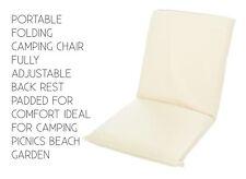 PORTABLE Folding Camping Chair For Tents Picnics Beach Garden COLOUR CREAM