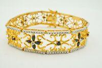 Gold Over Sterling Silver 925 Sapphire Panel Link Bracelet