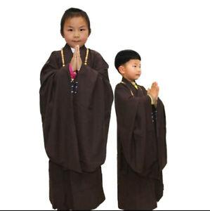 New Kids Children Shaolin Buddhist Monk Haiqing Robe Zen Meditation Gown Suits