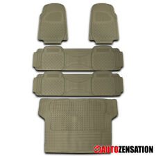 3D Rubber Beige For SUV All Weather Heavy Duty Front+Rear+Trunk Floor Mats 5PC