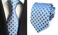 Light Blue Silver Tie Handmade Patterned 100% Silk Wedding Necktie 8cm Width