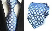 Light Blue and Silver Handmade Patterned 100% Silk Tie