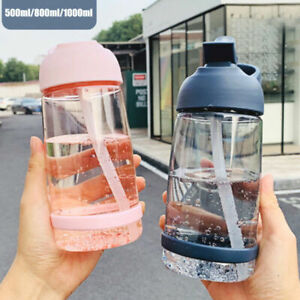 Portable Sports Water Bottle with Straw Plastic BPA Free Leakproof Drinks Mugs