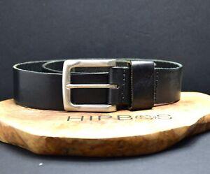 Vintage Handmade Mens Real Leather Belt Black Size 38