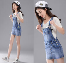 Womens Denim Dungaree Dress Ladies Slim Jean Pinafore short Overall Skirt Blue