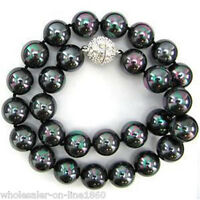 """8mm 10mm 12mm 14mm Natural Real Black South Sea Shell Pearl Necklace 18""""AAA+++"""