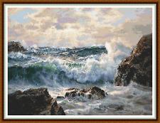 "'ROLLING WAVES' Cross Stitch Chart (17""x13"") Seascape/Landscape/Detailed NEW"