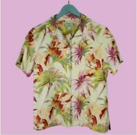 TOMMY BAHAMA Floral Silk Button Front Shirt Top Blouse Womens Size Small 4/6