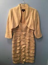 Adriana Papell Yellow Beige Shiny Iridescent Strapless Dress / Bolero Size 8