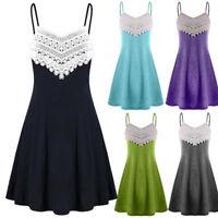 Summer Womens Lace Crochet Sleeveless Dress Evening Cocktail Party Mini Dress AU