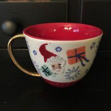 Anthropologie Emily Isabella Holiday Spirit Red Christmas Mug Cup Santa Presents