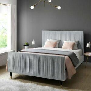 Jasmine Double Bed Frame in Silver Grey Pleated Velvet
