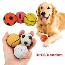 3PCS 2.5'' Squeak Latex Dog Toy Football Chew Fetch Throw Ball for Medium Dogs'
