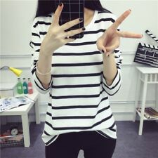 Women Black And White Striped Slim Fit Bottom T Shirt Long Sleeve Blouse Tops