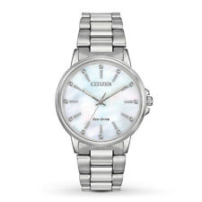 New Citizen Eco-Drive Ladies Chandler MOP Dial Stainless Steel Watch FE7030-57D