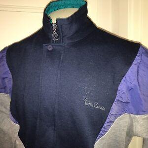 Vtg 80s Pierre Cardin LARGE Full Zip COLOR BLOCK Sweatshirt Track Jacket Coat L
