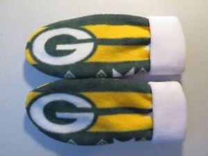 PACKERS FLEECE womens  MITTENS NFL HANDCRAFTED GREEN BAY NFL winter gloves