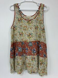 Anthropologie Easel Floral Boho Sleeveless Tiered Flowy Tunic Womens S Small