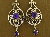 E039 - Stunning Genuine 9ct Gold SOLID Natural Amethyst Scroll Dangle Earrings