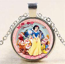 Vintage Snow White Cabochon Tibetan silver Glass Chain Pendant Necklace #3807
