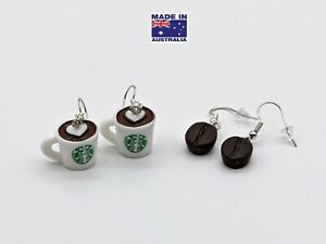 3D Coffee Cup  Coffee Bean Cappuccino Novelty Drop EARRINGS Gift Dress Accessory