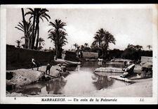 MARRAKECH (MAROC) ANE chargé à la PALMERAIE animée période 1930