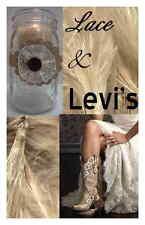 8 Ivory Burlap Lace Levi's Mason Jar Wedding Rustic Candle Table Decorations L1