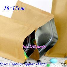 50 Aluminum Foil Lined Kraft Paper Bag Envelope Tea Food Seal Zip Lock 10X15cm