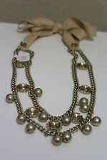 NWT Ann Taylor Loft Champagne Color Beaded Necklace With Stones