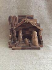 Vintage Hand Made Wooden Nativity