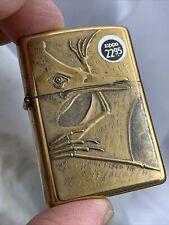 1994 Zippo Lighter - Barrett Smythe Pterodactyl - Dinosaur Series Brass - Mint