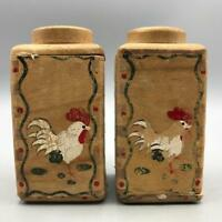 Vintage Woodpecker Woodware Wood Salt and Pepper Shaker Set made in Japan