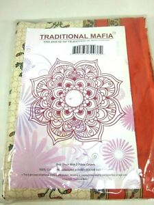 TRADITIONAL MAFIA MUGHAL COLLECTION BED SHEET W/ 2 PILLOW COVERS, KING SET, NEW