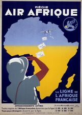 Africa by Air Afrique, 1935, Classic Vintage Art Deco Travel Poster