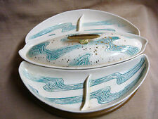 Mid Century Lazy Susan Set BELL MFG USA - White w/ Aqua Swirls & Gold Splatters