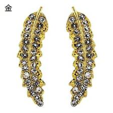 Luxury 925 Silver Leaf Shaped Stud Earrings Women White Sapphire A Pair/set UK