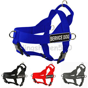 Large Nylon Working Service Dog Harness Pitbull Husky Removable label Patches