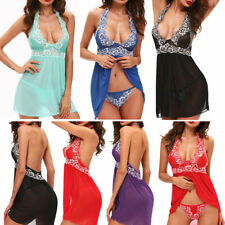 Women Sexy Lingerie Halter Dress Babydoll Lace Chemise Sleepwear Nightgown US