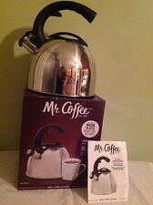 New Mr. Coffee Stainless Steel Whistling Tea Kettle 2 QT Easy one-hand Operation
