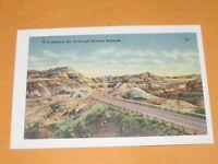 Vintage Linen Postcard 1940 s Montana US Highway No. 10 Badlands Mountains