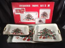 Vintage Set 3 Pc White Japan Lacquer Ware Serving Tray Christmas Tree Box Reitz