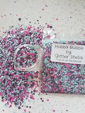 Nail Art Mixed Glitter Mix (Hubba Bubba ) 10g Bag Chunky Shiny Pink / Grey Dots