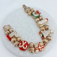 A Very Lovely Vintage Christmas Themed Goldtone Slider Bracelet
