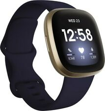 Fitbit Versa 3 Aktivitäts-Tracker - Nachtblau/Aluminium Softgold