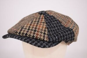 Wigens NWT 100% Wool Newsboy in Brown, Black & Blue Patchwork Size 57, 7 & 1/8th
