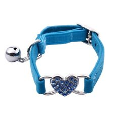Heart charm and bell cat collar safety elastic adjustable with soft velvet Z9C7