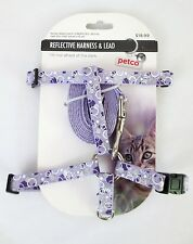 "Petco Reflective 8"" - 12"" Cat Harness & 3/8"" x 4' Lead Leash Purple Dots NEW"