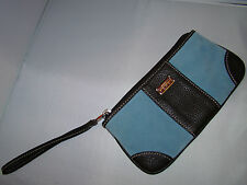 nwot authentic LAMBERTSON TRUEX pale blue suede & leather SM. WRISTLET purse